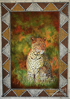 Beadwork Painting - Leopards by Carol J  South