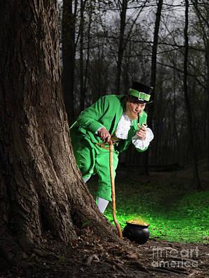 Irish Folklore Photograph - Leprechaun With Pot Of Gold by Oleksiy Maksymenko
