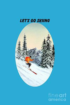 Slalom Painting - Let's Go Skiing by Bill Holkham