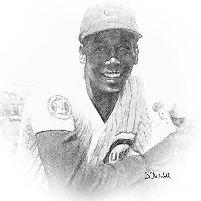 Drawing - Ernie Banks by Stephen Mitchell