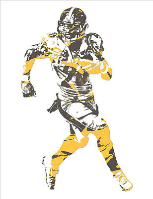 Mixed Media - Leveon Bell Pittsburgh Steelers Pixel Art 20 by Joe Hamilton