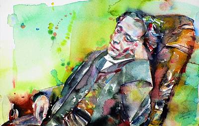 Painting - Lewis Carroll - Watercolor Portrait by Fabrizio Cassetta
