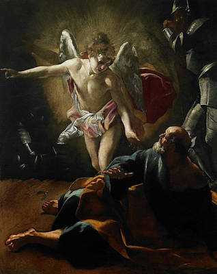 Night Angel Painting - Liberation Of Saint Peter by Giovanni Lanfranco