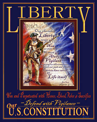 Defend Mixed Media - Liberty, Defend Our Constitution by John Satas
