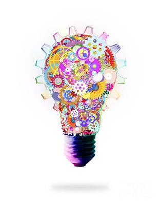 Multicolored Digital Art - Light Bulb Design By Cogs And Gears  by Setsiri Silapasuwanchai