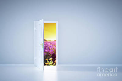 Photograph - Light Shining From Open Door. Entrance by Michal Bednarek