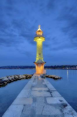 Photograph - Lighthouse At The Paquis, Geneva, Switzerland, Hdr by Elenarts - Elena Duvernay photo