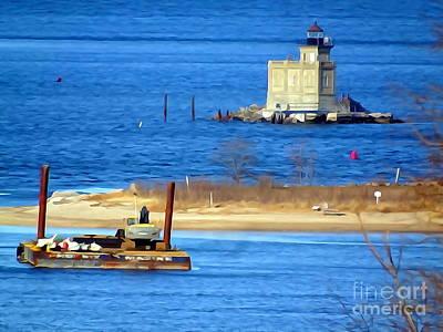 Digital Art - Lighthouse Beach by Ed Weidman