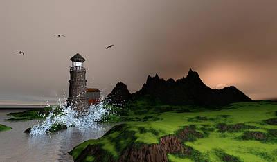 Firefighter Patents - Lighthouse landscape by John Junek Fine Art Prints and Posters by John Junek