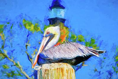 Photograph - Lighthouse Pelican by Alice Gipson