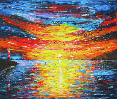 Art Print featuring the painting  Lighthouse Sunset Ocean View Palette Knife Original Painting by Georgeta Blanaru