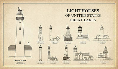 Lighthouse Drawing - Lighthouses Of United States - Great Lakes - Blueprint Drawing by Jose Elias - Sofia Pereira