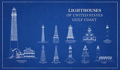 Drawing - Lighthouses Of United States - Gulf Coast - Blueprint Drawing by Jose Elias - Sofia Pereira