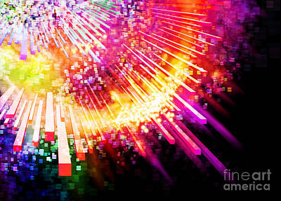 Multicolor Digital Art - Lighting Explosion by Setsiri Silapasuwanchai