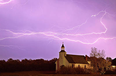 Lightning Digital Art - Lightning Bolts Over Spring Valley Country Church by Mark Duffy