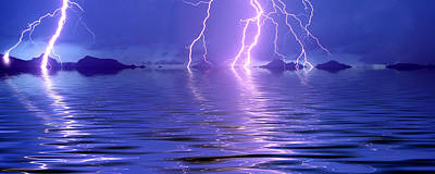 Lightning Photograph - Lightning Over The Sea by Panoramic Images