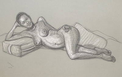 Drawing - Liliana Reclining 2 by Donelli  DiMaria