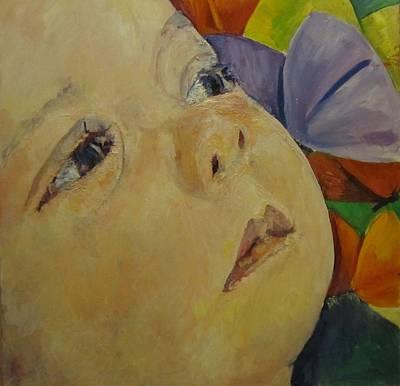 Lily And Butterflies Art Print by Pamela A Fox