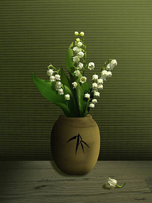 Digital Art - Lily Of The Valley In Vase by IM Spadecaller