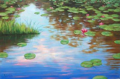 Lilies Painting - Lily Pond by Graham Gercken