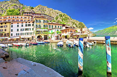 Photograph - Limone Sul Garda Turquoise Harbor Panoramic View by Brch Photography