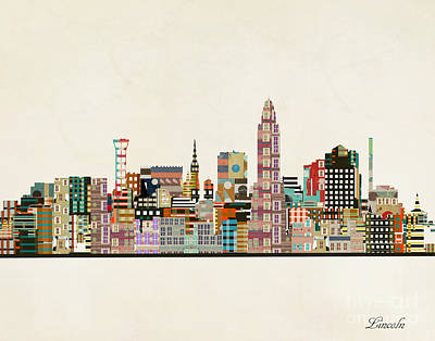Painting - Lincoln Nebraska Skyline by Bleu Bri