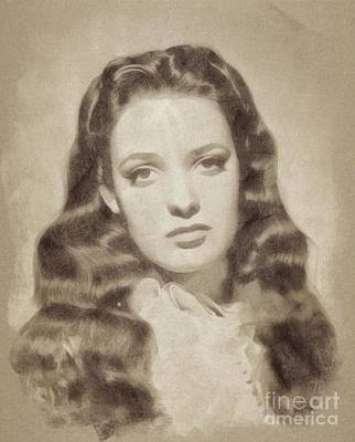 Musicians Drawings - Linda Darnell, Vintage Actress by John Springfield by Esoterica Art Agency