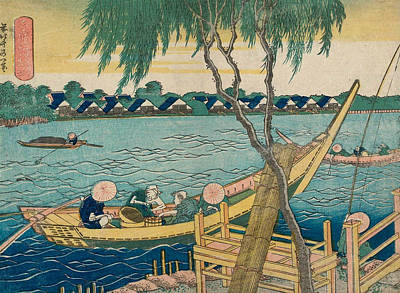 Edo Period Painting - Line-fishing In The Miyato River by Katsushika Hokusai