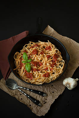 Linguine With Basil And Red Sauce In Cast Iron Pan Print by Erin Cadigan