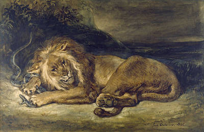 Lion Painting - Lion And Snake by Eugene Delacroix