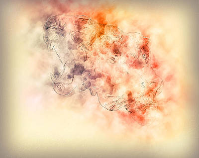 Muzzle Digital Art - Lion Face Profile Portrait, On Colorful Abstract  Background.. by Jozef Klopacka
