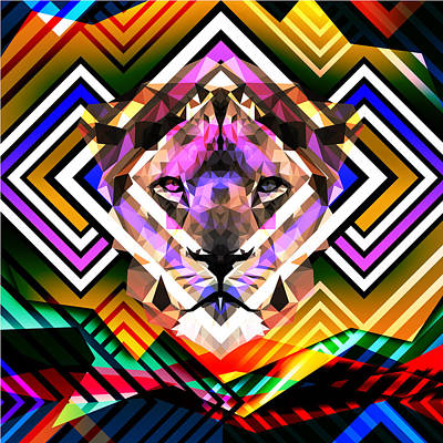 Rastafari Digital Art - Lion by Gallini Design