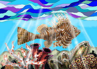 South Pacific Drawing - Lion Fish by Mike Moss
