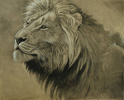 Charcoal Digital Art - Lion Portrait by Aaron Blaise