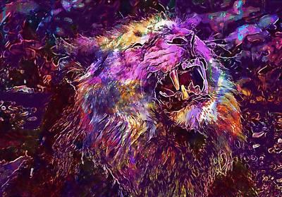 Digital Art - Lion Predator Cat Roar Zoo  by PixBreak Art
