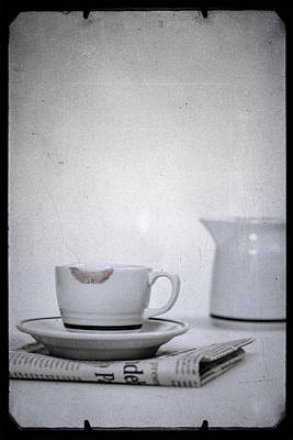 White China Cup Photograph - Lip Marks by Joana Kruse
