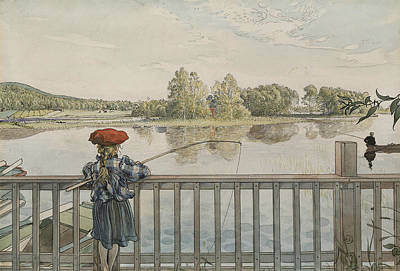 Angling Painting - Lisbeth Angling. From A Home by Carl Larsson