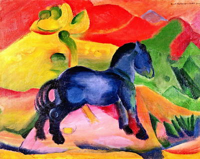 Franz Marc Painting - Little Blue Horse by Franz Marc