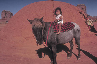 Photograph - Little Indian Girl On Horse by Carl Purcell