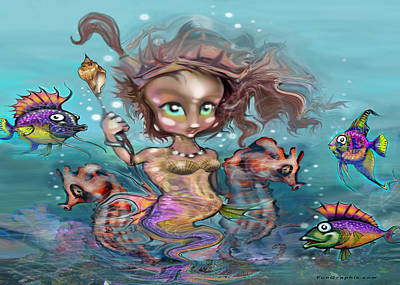 Aquatic Painting - Little Mermaid by Kevin Middleton
