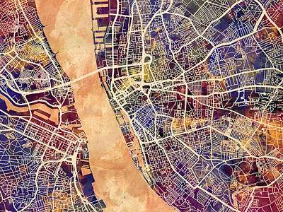 Liverpool Digital Art - Liverpool England Street Map by Michael Tompsett