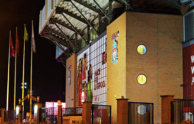 Liverpool Uk, 17th October 2016. Liverpool Football Club's New Giant Mural For The 2016/17 Season At The Kop End Of The Stadium Lit Up At Night Art Print