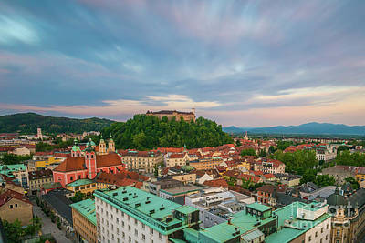 Photograph - Ljubljana at sunset by Travel and Destinations - By Mike Clegg