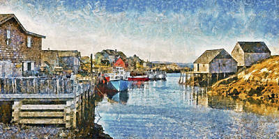 Digital Art - Lobster Boats At Peggy's Cove In Nova Scotia by Digital Photographic Arts