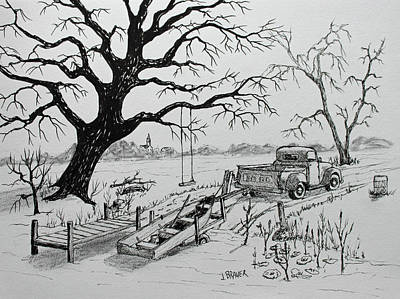 Drawing - Local Landing by Jack G Brauer