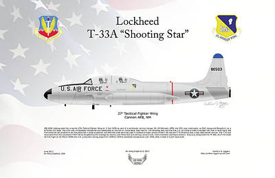 Digital Art - Lockheed T-33a Shooting Star by Arthur Eggers