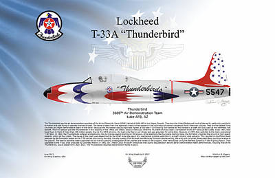 Digital Art - Lockheed T-33a Thunderbird by Arthur Eggers
