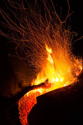 Photograph - Log Campfire Burning At Night by John Williams