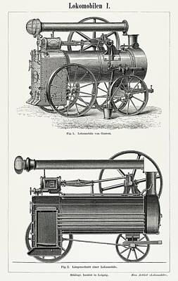 Steampunk Drawings - Lokomobilen by Unknown