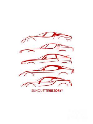 Montreal Digital Art - Lombard Sports Car Silhouettehistory by Gabor Vida